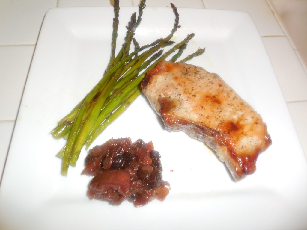 Bone in Pork Chop with Rhubarb chutney