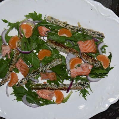 Sesame Orange Mizuna Salad